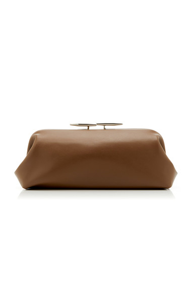 Little Liffner Oyster Leather Clutch in brown