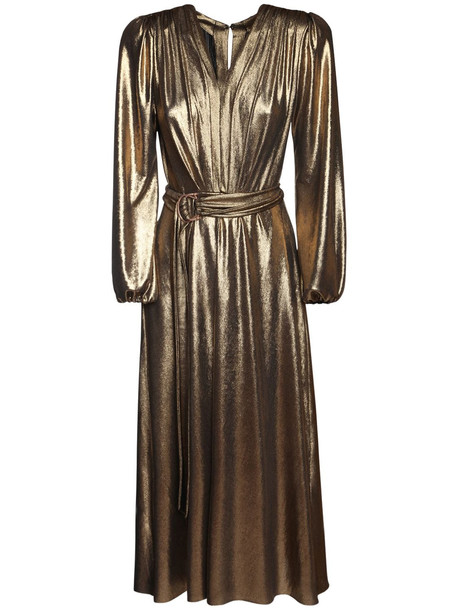 MARIA LUCIA HOHAN Zaila Metallic Jersey Midi Dress in gold