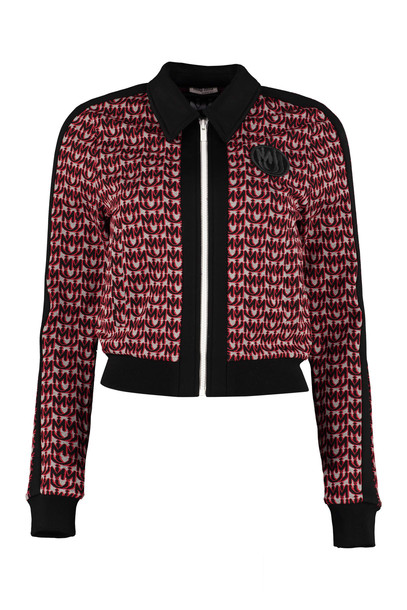 Miu Miu Full-zip Knitted Sweatshirt in black