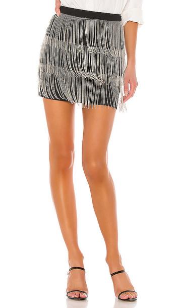 superdown Janelle Fringe Skirt in Black