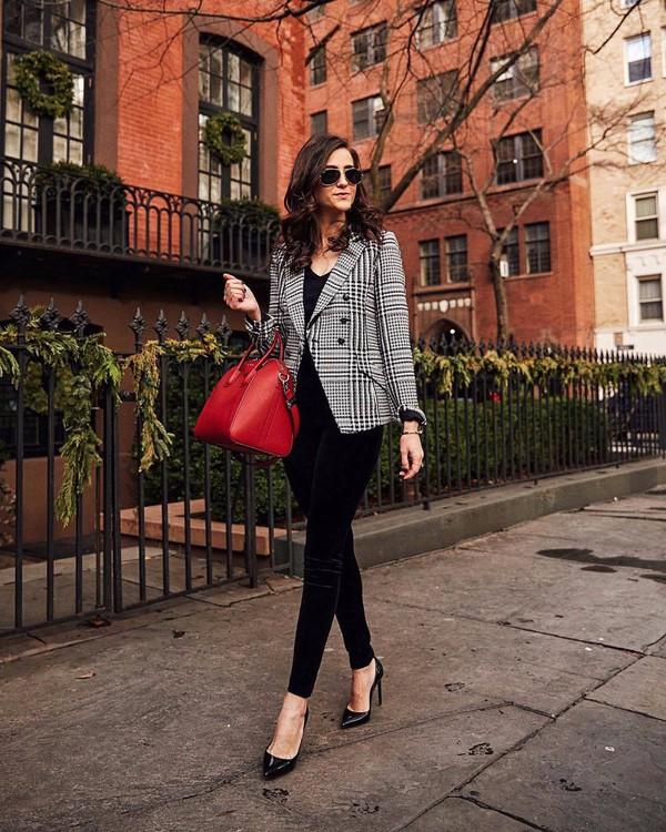 jacket blazer plaid pumps black velvet pants skinny pants shoulder bag black top