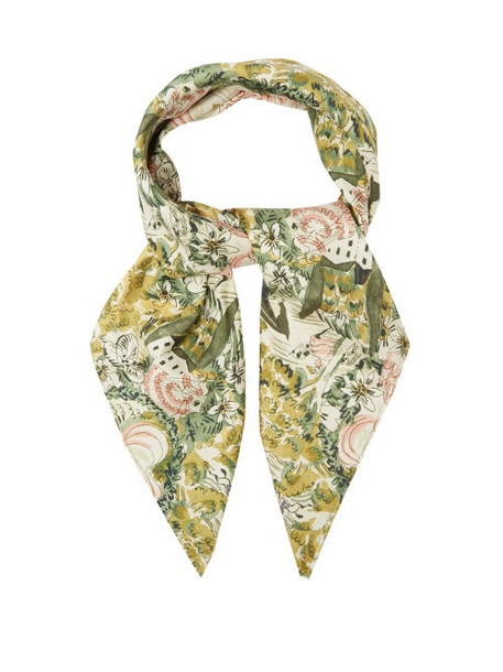 Shrimps - Florence Floral-print Silk Scarf - Womens - Green Multi
