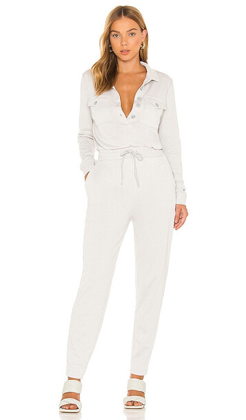 525 Distressed Utility Jumpsuit in Light Grey in silver