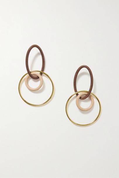 Cult Gaia - Tria Gold-tone Wood Earrings - Brown