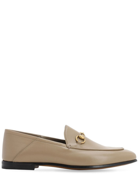 GUCCI 10mm Brixton Leather Loafers in taupe