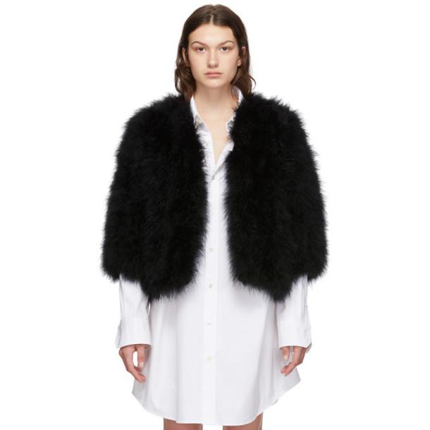 Yves Salomon Black Feather Jacket