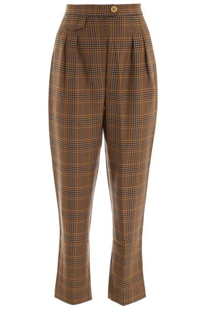 Nanushka Check Trousers in brown