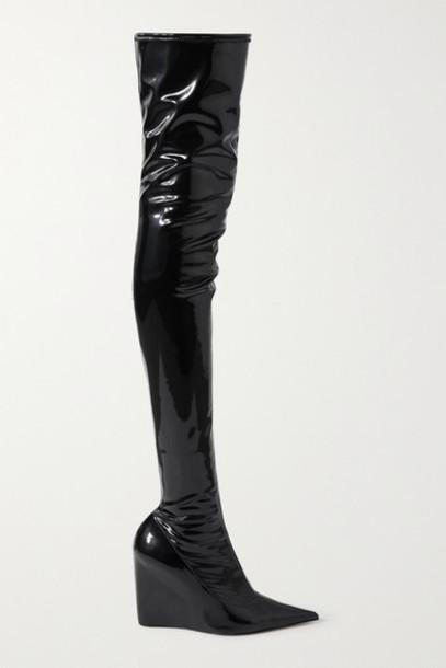 Amina Muaddi - Danielle Stretch-latex Wedge Thigh Boots - Black