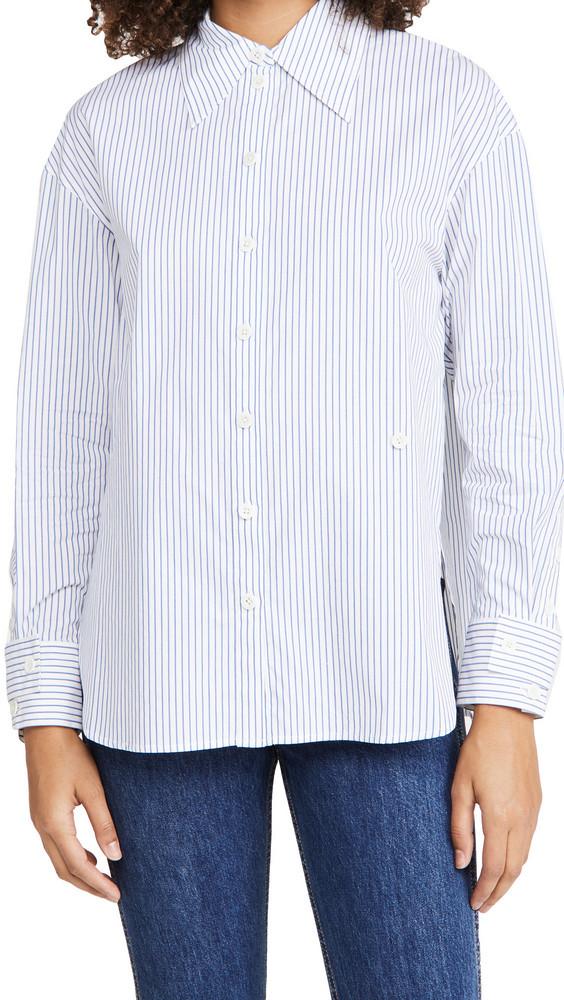 Tibi Split Cuff Oversized Shirt in blue