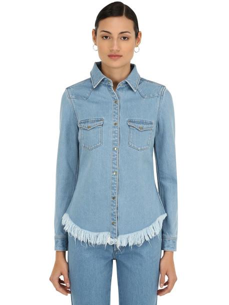 MARQUES'ALMEIDA Fitted Cowboy Cotton Denim Shirt in blue