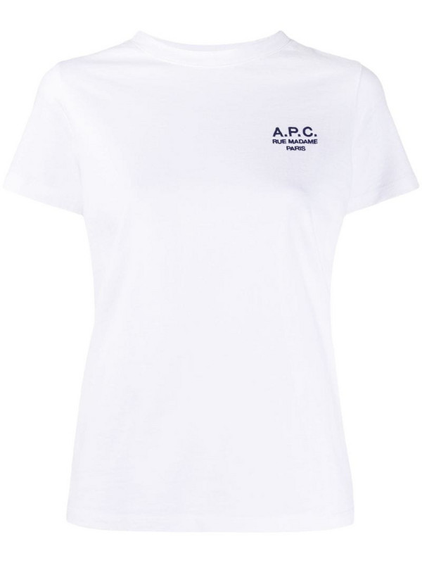 A.P.C. embroidered logo short sleeve T-shirt in white
