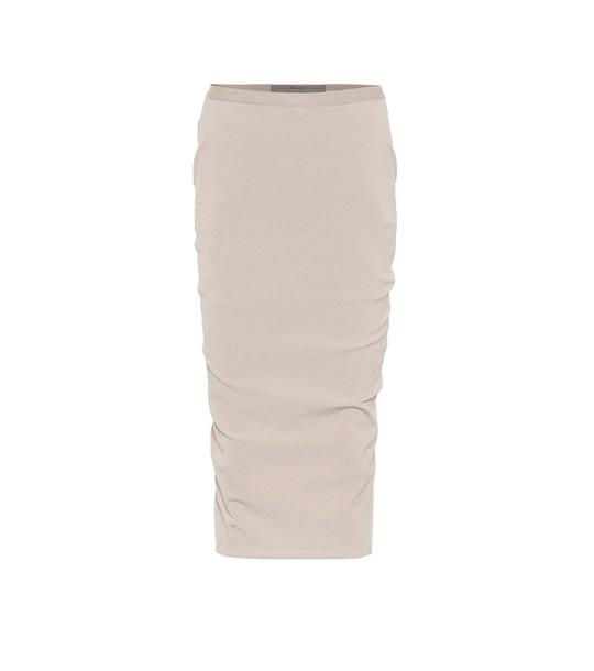 Rick Owens Stretch-cotton midi skirt in beige