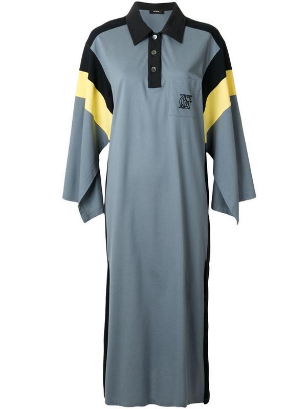 Goen.J colour-block polo dress in blue