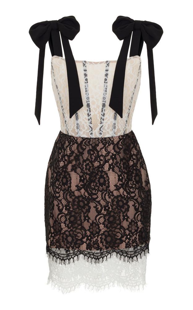 Rasario Bow-Detail Lace Mini Dress in black / white