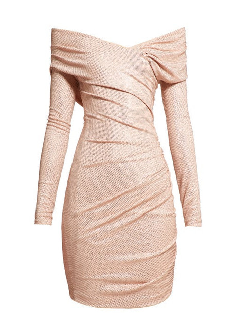 Alexandre Vauthier - Crystal Embellished Off The Shoulder Jersey Dress - Womens - Light Pink