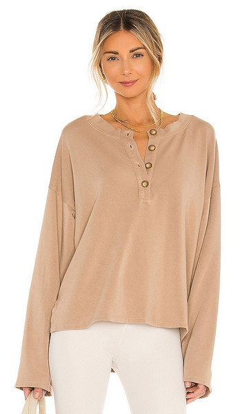 Lovers + Friends Lovers + Friends Hailey Henley Sweatshirt in Brown