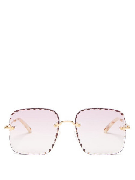 Chloé Chloé - Rosie Scalloped Square Metal Sunglasses - Womens - Pink Gold