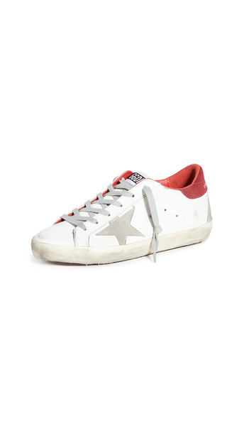 Golden Goose Superstar Sneakers in red / white