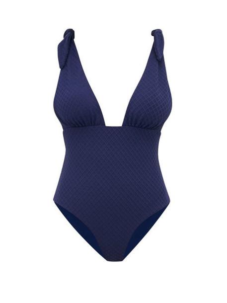 Mara Hoffman - Daphne Shoulder Tie Jacquard Swimsuit - Womens - Navy