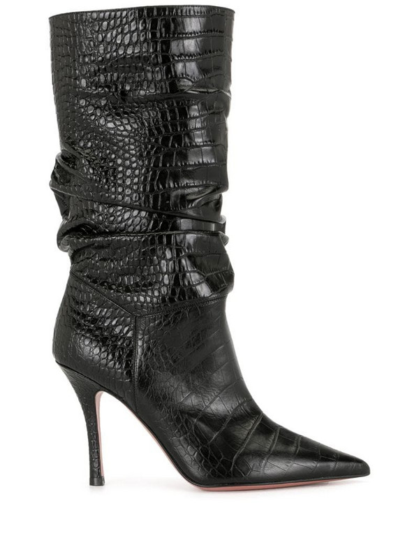Amina Muaddi embossed multi-pattern boots in black