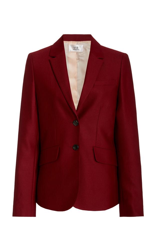 Victoria Victoria Beckham Single-Breasted Wool Tuxedo Jacket in burgundy
