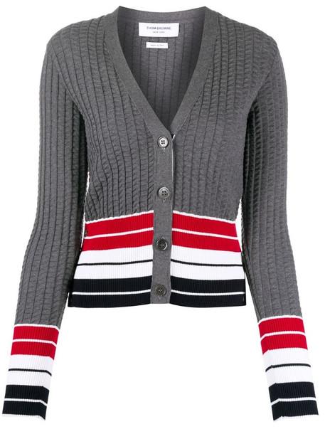 Thom Browne textured knit cardigan in grey