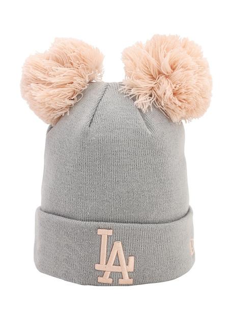 NEW ERA Double Pompom La Dodgers Knit Beanie in grey
