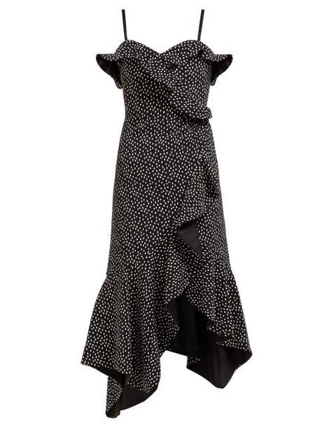 Jonathan Simkhai - Polka Dot Print Off The Shoulder Midi Dress - Womens - Black White