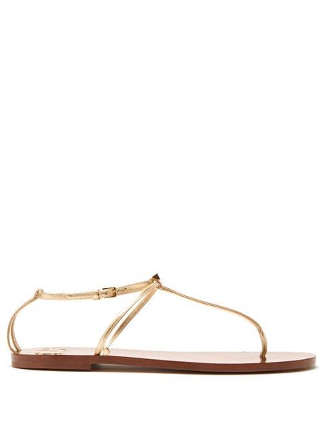 Valentino - Rockstud T Bar Leather Sandals - Womens - Gold