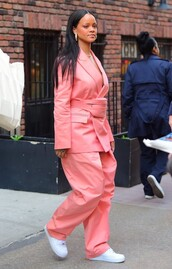 jacket,peach,pants,suit,celebrity,sneakers,rihanna