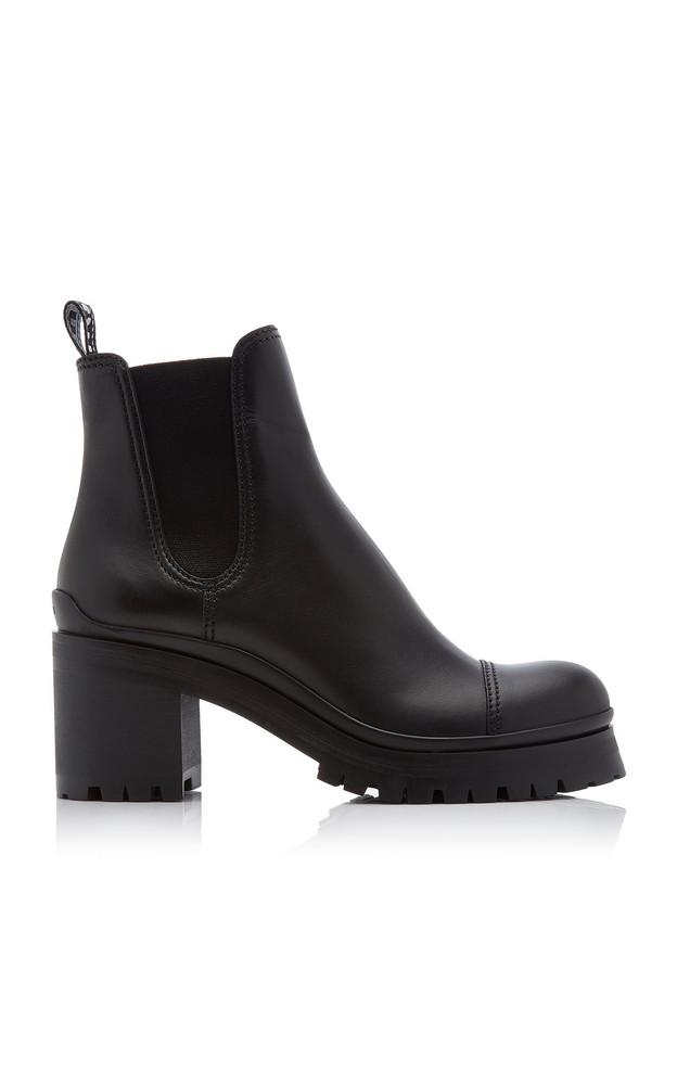 Miu Miu Calf Leather Heeled Chelsea Boots in black