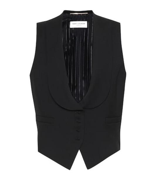 Saint Laurent Wool gabardine vest in black