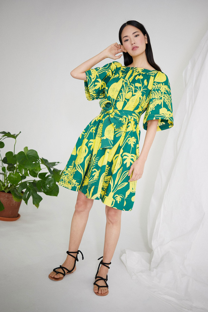 WHIT Mira Dress in Potted Plant Print Green/Yellow