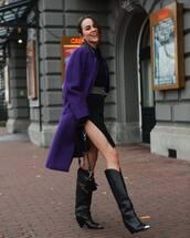 shoes,knee high boots,black boots,cowboy boots,black bag,coat,black dress,belt