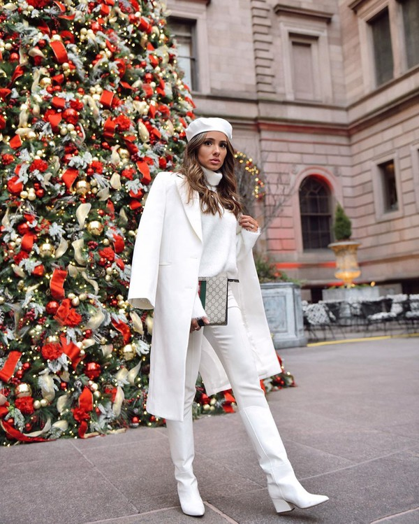 coat white coat white boots knee high boots white jeans white sweater beret