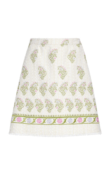 Giambattista Valli Frayed Embroidered Cotton-Blend Mini Skirt in white