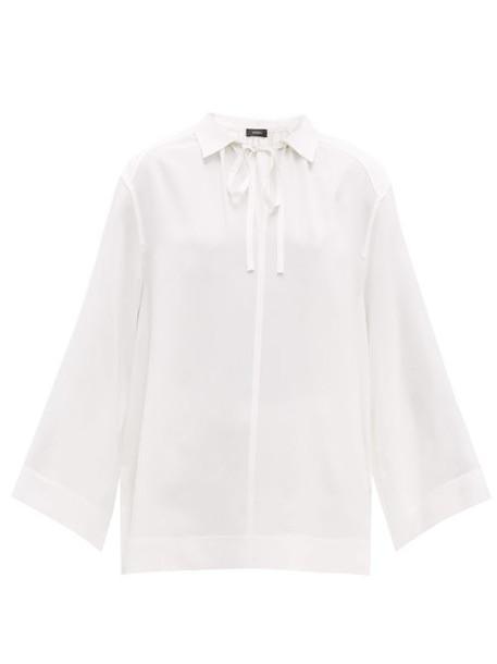 Joseph - Fran Point Collar Ribbed Silk Blouse - Womens - White