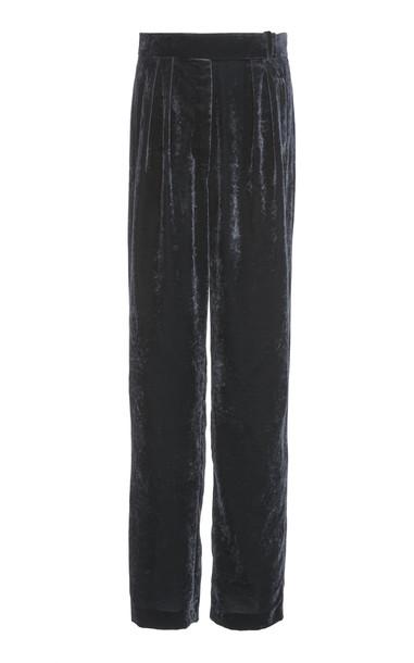 DELPOZO Pleated Virgin Wool Wide-Leg Pants Size: 44 in navy