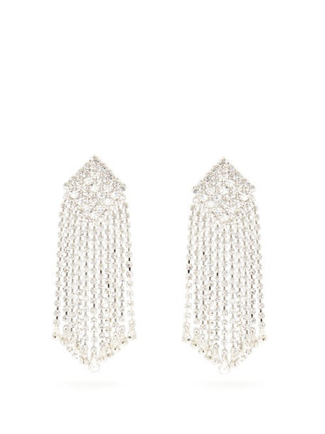 Alessandra Rich - Crystal Cascade Square Clip Earrings - Womens - Crystal