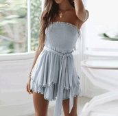 dress,idk,romper,scrunched,linen,blue,blue dress,summer,summer dress,belted dress,cotton,pretty