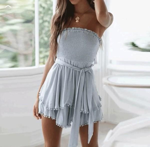dress idk romper scrunched linen blue blue dress summer summer dress belted dress cotton pretty