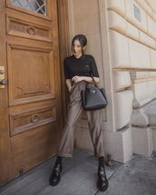 shoes,loafers,prada,straight pants,black top,prada bag