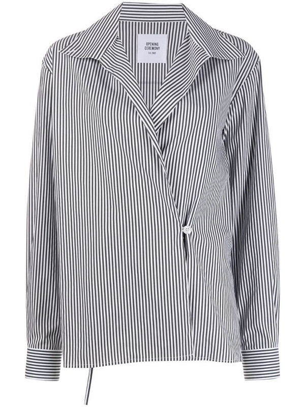 Opening Ceremony box logo striped wrap shirt in white