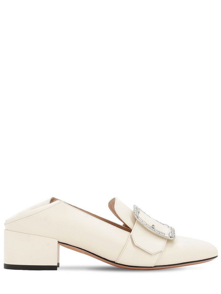 BALLY 40mm Janelle Crystal Leather Pumps in white