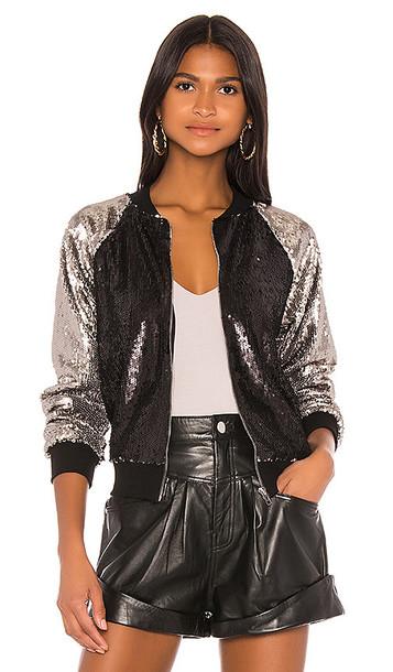 superdown Barb Bomber Jacket in Black,Metallic Silver