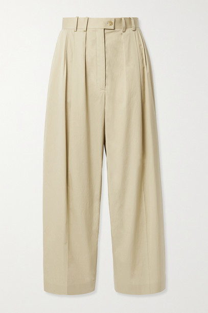 THE ROW - Marian Pleated Cotton-poplin Tapered Pants - Neutrals
