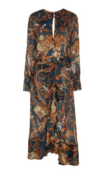 Johanna Ortiz Running With The Jaguars Printed Satin Midi Dress Size: