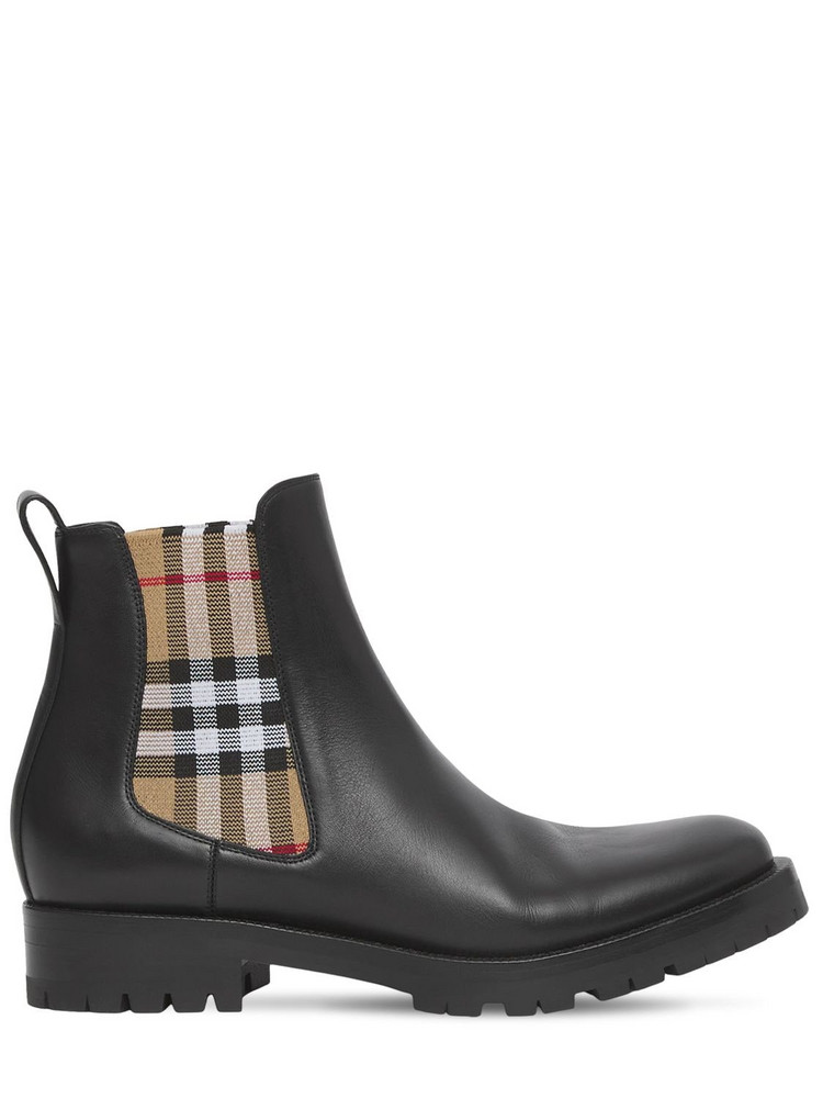 BURBERRY 20mm Allostock Leather Ankle Boots in black