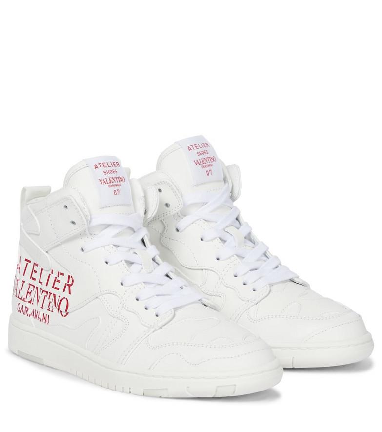 Valentino Garavani Atelier high-top leather sneakers in white
