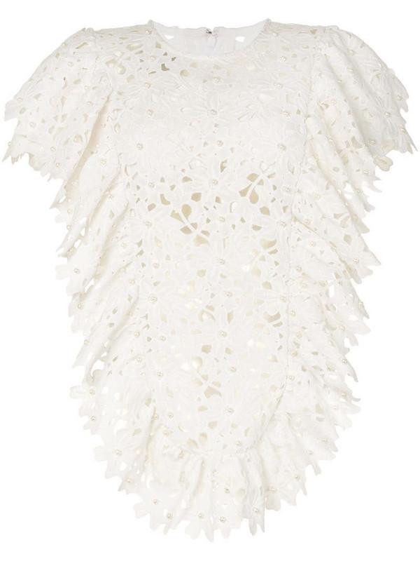 Bambah lace ruffled tunic dress in white